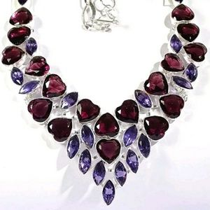 Stunning African Amethyst Heart Necklace